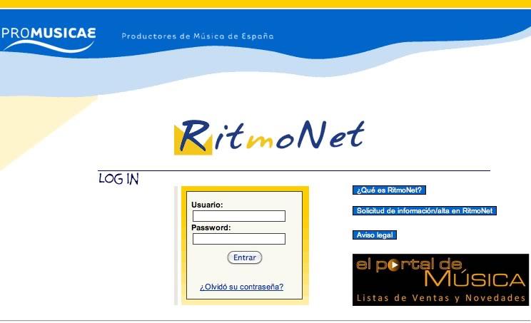 Ouvirmos ingresa en PROMUSICAE e accede a RitmoNet