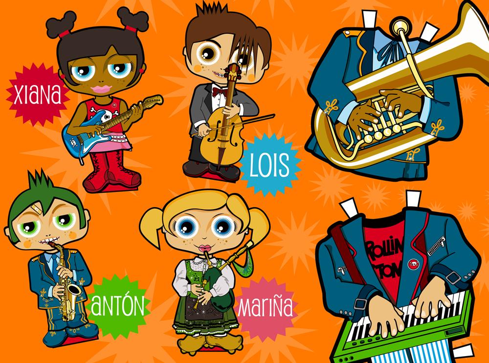 Pensando nas crianzas: bonecas musicais para recortar