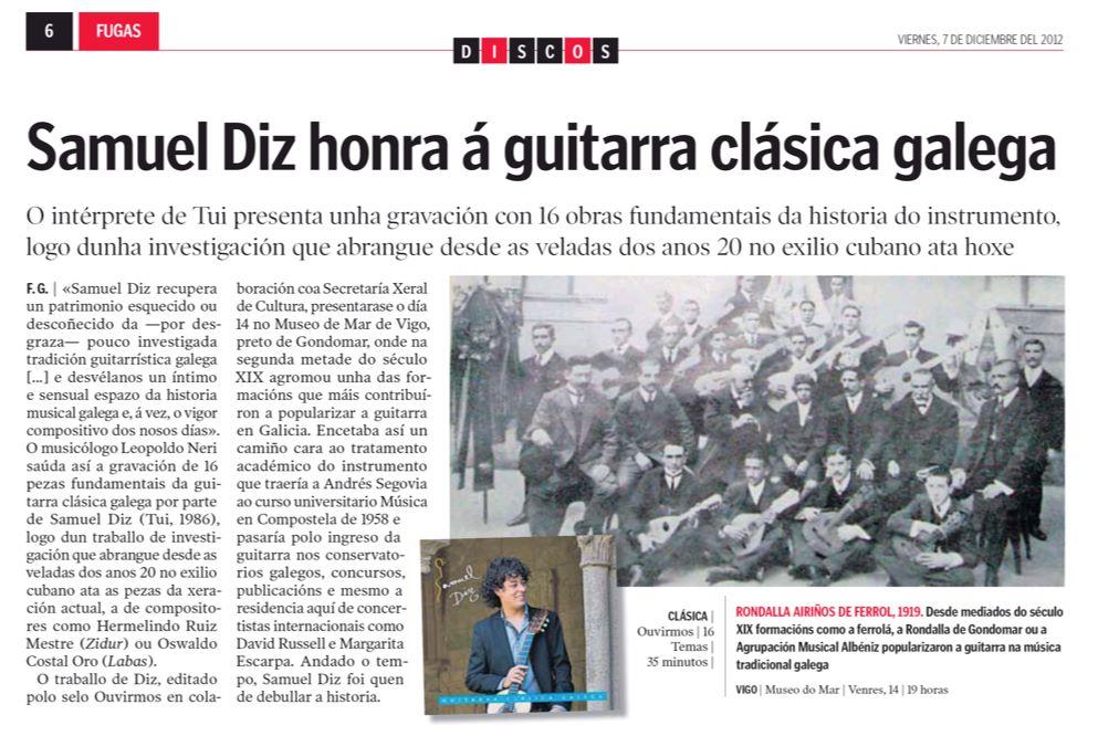 Samuel Diz honra á guitarra clásica galega